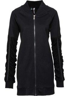Трикотажная куртка с вышивкой (черный) Bonprix
