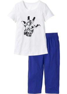 Пижама-капри (кремовый/синий с принтом) Bonprix