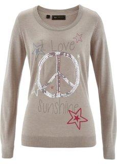 Пуловер с пайетками (натуральный меланжевый камень/разноцветный с рисунком) Bonprix
