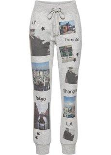 Спортивные брюки с фотопринтом (серый меланж с рисунком) Bonprix