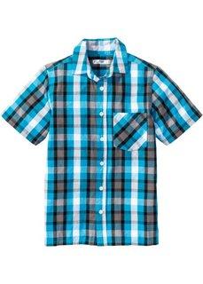 Клетчатая рубашка с принтом (нежно-бирюзовый/черный) Bonprix