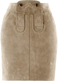Кожаная юбка с вышивками (светло-коричневый) Bonprix