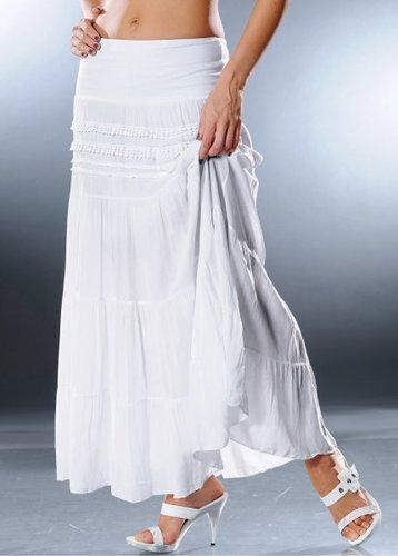 Ступенчатая макси-юбка (белый)