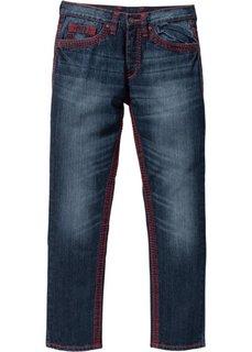 Джинсы Regular Fit Straight, длина в дюймах 32 (темно-синий «потертый») Bonprix