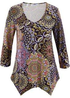 Удлиненная футболка с рукавом 3/4 (черный/темно-лиловый с узором) Bonprix