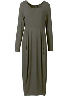 Трикотажное платье макси (темно-оливковый) Bonprix