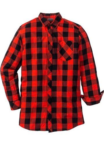 Длинная рубашка Regular Fit с длинным рукавом (черный/красный в клетку)