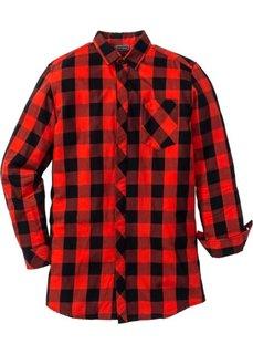 Длинная рубашка Regular Fit с длинным рукавом (черный/красный в клетку) Bonprix