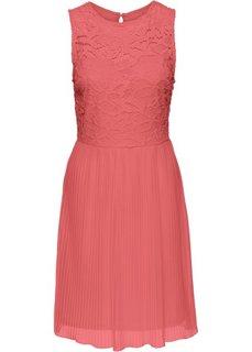 Трикотажное платье с плиссированной юбкой и кружевом (коралловый) Bonprix