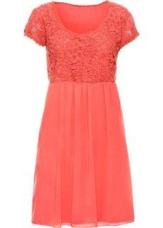 Платье с кружевной отделкой (коралловый) Bonprix