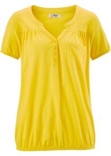 Трикотажная блузка с коротким рукавом (желтый) Bonprix