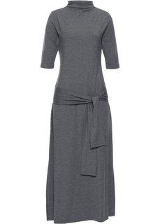 Платье с эффектом запаха (серый меланж) Bonprix