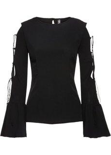 Блузка с вырезами (черный) Bonprix