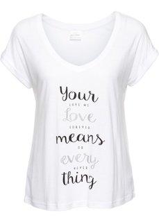 Широкая короткая футболка с V-образным вырезом (белый с рисунком) Bonprix