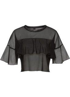 Полупрозрачная футболка (черный) Bonprix