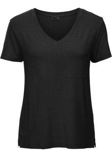 Трикотажная футболка с V-образным вырезом (черный) Bonprix