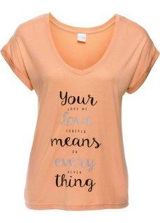 Широкая короткая футболка с V-образным вырезом (абрикосовый с рисунком) Bonprix
