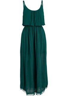 Платье с воланами (темно-зеленый) Bonprix