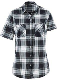 Клетчатая блузка с коротким рукавом (черный/белый в клетку) Bonprix