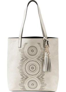 Ажурная сумка-шопер (бежевый) Bonprix