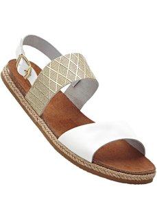 Кожаные сандалии (белый/золотистый) Bonprix