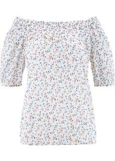 Блузка с рукавом 3/4 (белый с рисунком) Bonprix