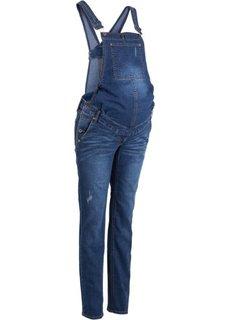 Узкий джинсовый комбинезон для беременных (синий «потертый») Bonprix