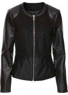 Байкерская куртка с баской (черный) Bonprix