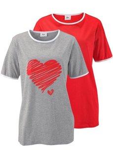 Удлиненная футболка (2 шт.) (светло-серый меланж/клубничный) Bonprix