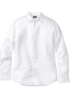 Льняная рубашка Slim Fit с длинным рукавом (белый) Bonprix