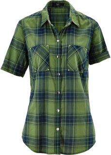 Клетчатая блузка с коротким рукавом (зеленый/темно-синий в клетку) Bonprix