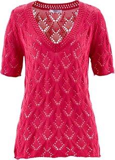 Ажурный пуловер с коротким рукавом (ярко-розовый) Bonprix