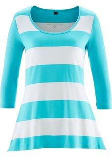 Удлиненная футболка с рукавом 3/4 (нежно-бирюзовый/кремовый в полоску) Bonprix