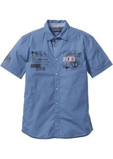 Рубашка стандартного покроя с коротким рукавом (синий) Bonprix