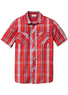 Рубашка в клетку с коротким рукавом (коралловый в клетку) Bonprix