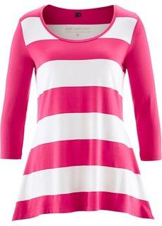Удлиненная футболка с рукавом 3/4 (ярко-розовый/кремовый в полоску) Bonprix