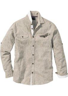 Рубашка Regular Fit с длинным рукавом (меланжевый хаки) Bonprix