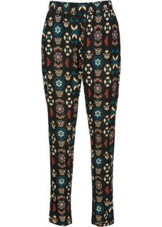 Трикотажные брюки (кирпичный/сине-зеленый с узором) Bonprix