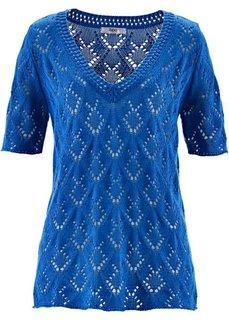 Ажурный пуловер с коротким рукавом (лазурный) Bonprix
