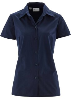 Однотонная блузка с короткими рукавами (темно-синий) Bonprix