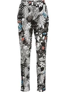 Трикотажные брюки (кремовый/черный с узором) Bonprix
