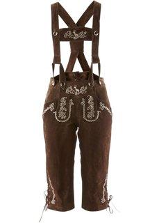 Замшевые брюки с вышивкой и подтяжками (темно-коричневый) Bonprix