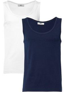 Майка стандартного прямого кроя regular fit (2 шт.) (темно-синий + белый) Bonprix