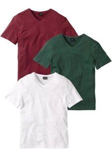 Футболка Regular Fit с V-образной горловиной (3 изделия в упаковке) (бордовый/темно-зеленый/белый) Bonprix