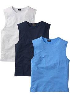Футболка без рукавов стандартного прямого кроя regular fit (3 шт.) (голубой + белый + темно-синий) Bonprix
