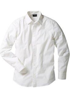 Рубашка стретч зауженного покроя (белый) Bonprix