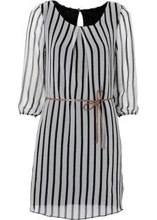 Платье (белый/черный в полоску) Bonprix