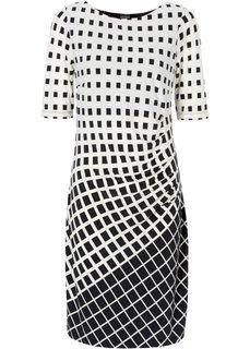 Мини-платье с графичным узором (экрю/черный) Bonprix