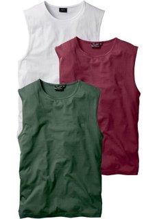Футболка без рукавов стандартного прямого кроя regular fit (3 шт.) (бордовый + темно-зеленый + белый) Bonprix