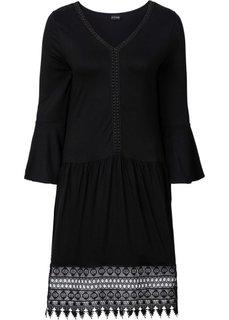 Платье в стиле бохо с аппликацией (черный) Bonprix